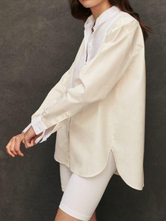 Chemise Maria à plastron bicolore ivoire - sessei - hesmé