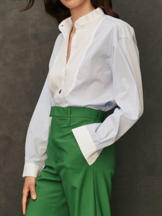 Chemise Maria à plastron bicolore ciel - sessei - hesmé